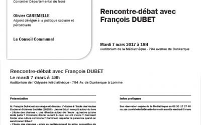 7 Mars 2017 – Rencontre-débat avec François DUBET – Lomme